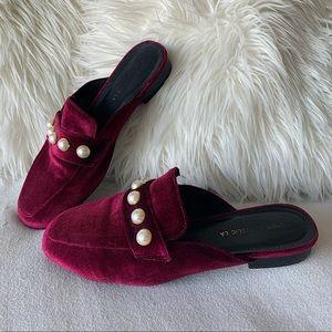 Regencycore Velvet Pearl Mule Loafer Slides